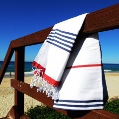 red and blue striped turkish travel towel