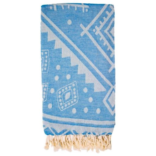 Double sided Turkish Towel Sea Blue