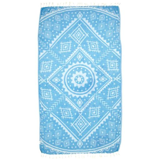 double sided turkish towel with unique pattern in blue