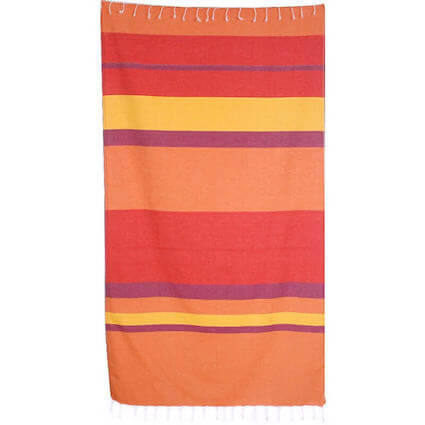 orange red raspberry striped Turkish Towel