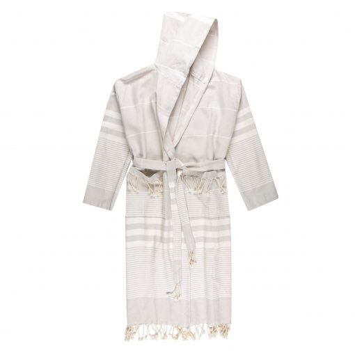 Turkish Robe in Light Grey with white wider stripes