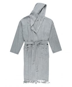 grey Turkish robe made from a premium Turkish Towel