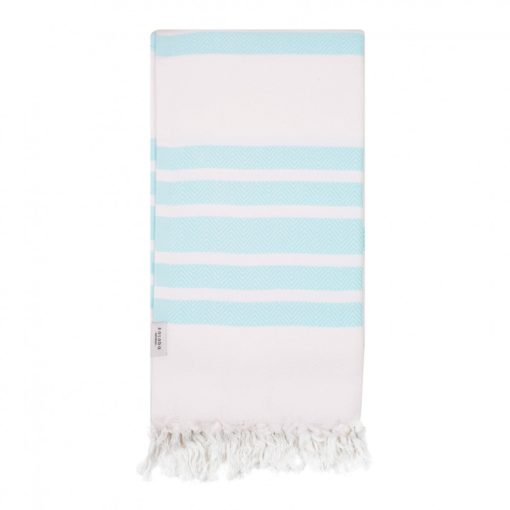 Turquoise and White cotton Turkish Towel