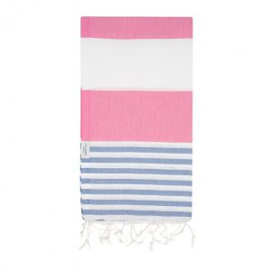Pink and Blue Turkish Towel with stripes