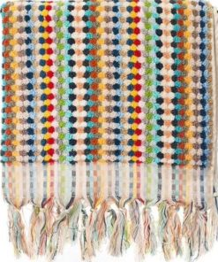 hand loomed turkish towel pom pom style