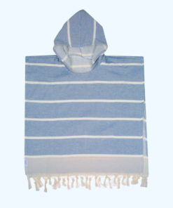 Blue hooded kids towel poncho style